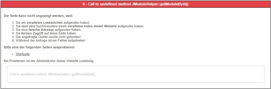 0 call to undefined method jmodulehelper getmodulebyid